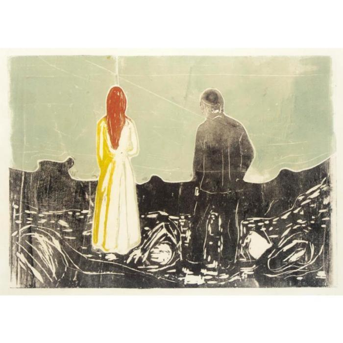 Edvard Munch-Two Human Beings, the Lonely Ones / Zwei Menschen, die Einsamen / Two people - The lonely ones-1917