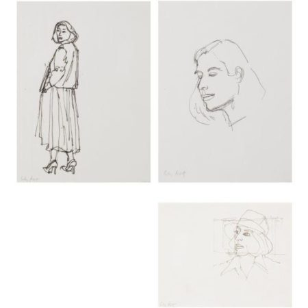 Alex Katz-Blue Dress; Ada Studies No. 1; Ada in Hat-1980