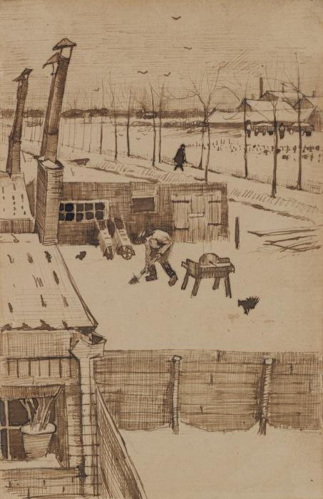 Vincent van Gogh-View from the window of Vincent's studio-1883