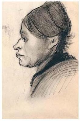 Vincent van Gogh-Head of a Peasant Woman, Left Profile-1885