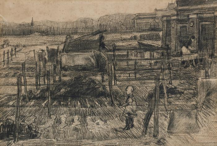 Vincent van Gogh-Back yards with two figures-1882