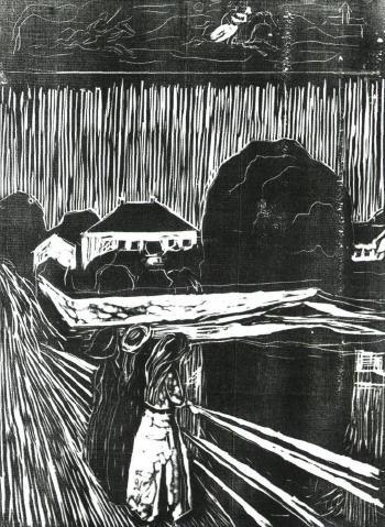 Edvard Munch-Madchen auf der Brucke / Young Ladies on a Bridge-1920