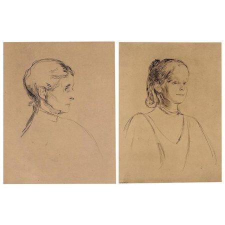 Edvard Munch-Portrait Of Ingeborg Heiberg; Portrait Of Ragnhild Heiberg (Willoch 29 and 45; Schiefler 38 and 53)-1896