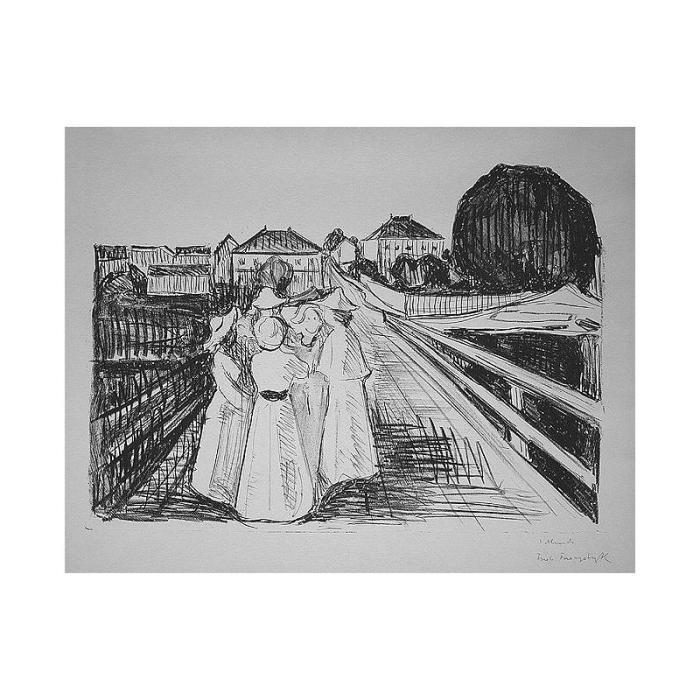 Edvard Munch-Auf der Brucke (On a Bridge)-1913