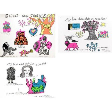 Niki de Saint Phalle-(i) Sweety sexy Clarice; (ii) My Love where shall we make love; (iii) My love what shall I do if you die-1968