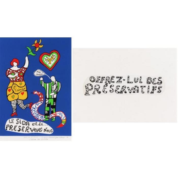 Niki de Saint Phalle-(i) Le sida est la; (ii) Offrez-lui des preservatifs-1970