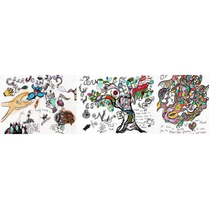 Niki de Saint Phalle-Happy Easter; Bonne annee; Le mois d'aout-