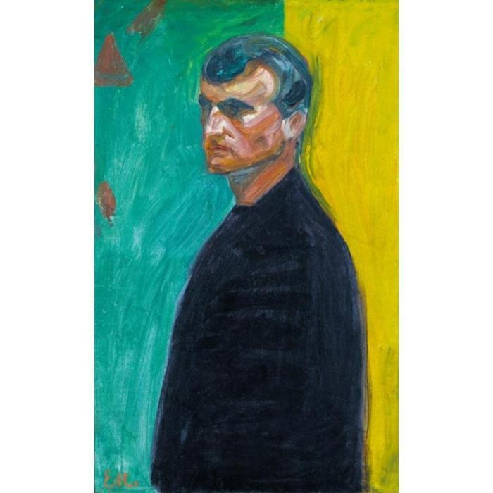 Edvard Munch-Self-Portrait (against Two-coloured Background)-1904