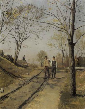 Edvard Munch-To Gutter pa en Vei (Two Boys on a Road)-1881