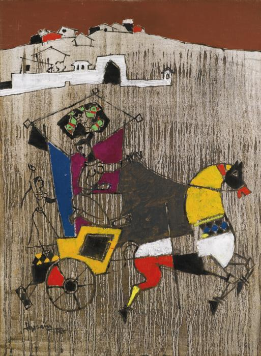 Maqbool Fida Husain-Untitled (Lady on a Chariot)-1955