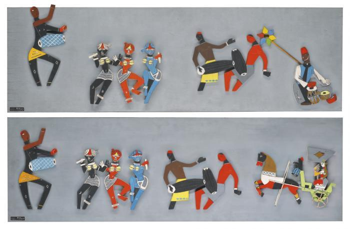 Maqbool Fida Husain-Two Painted Relief Panels Mounted with Toys-