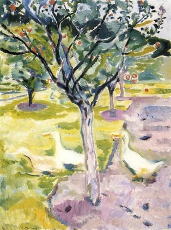Edvard Munch-Geese in an Orchard-1911