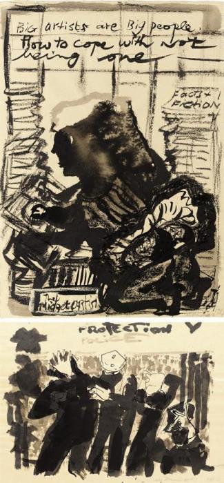 Marlene Dumas-(i) Big Artists are big People; (ii) Protection Police V-1987