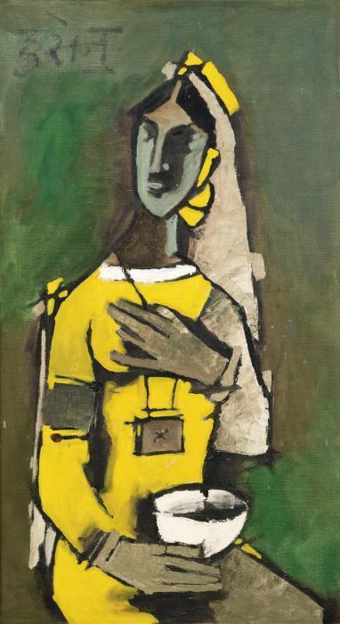 Maqbool Fida Husain-Untitled (Woman in Yellow)-