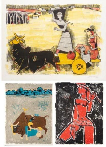 Maqbool Fida Husain-Three Untitled Works-