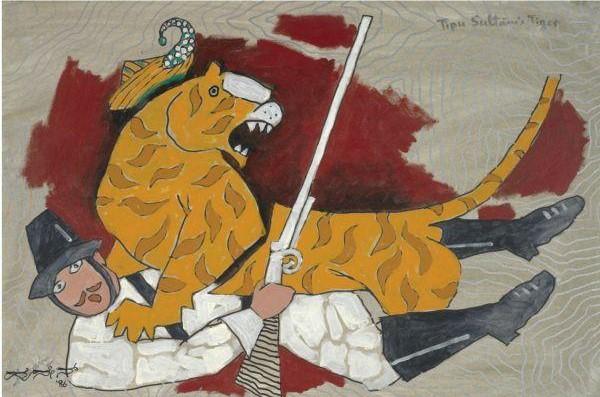 Maqbool Fida Husain-Tipu Sultan's Tiger-1986