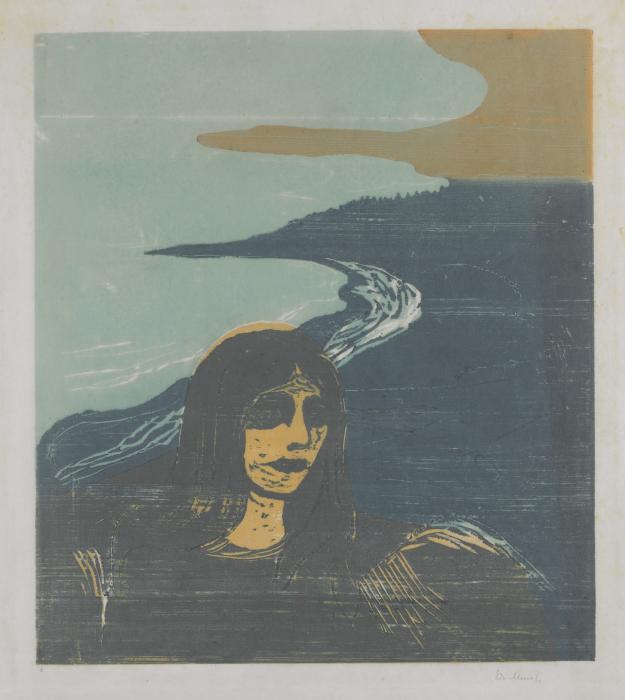 Edvard Munch-Woman's Head against the Shore / Madchen am Strande / Madchenkopf am Strande (Sch. 129; W. 152)-1899