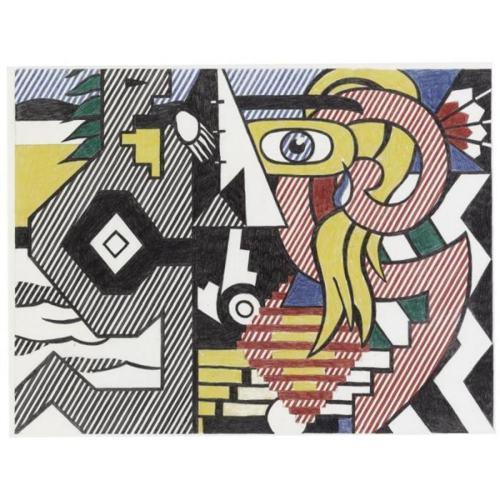 Roy Lichtenstein-Final Study for Amerind Landscape-1979