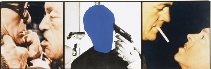 John Baldessari-Voided Person with Guns at Head (Flanked by Confrontations)-1990