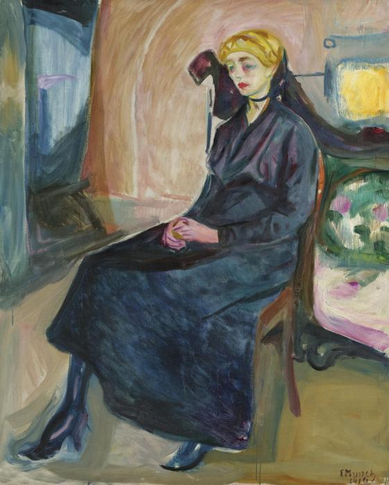 Edvard Munch-Sittende ung Kvinne (Seated Young Woman)-1916