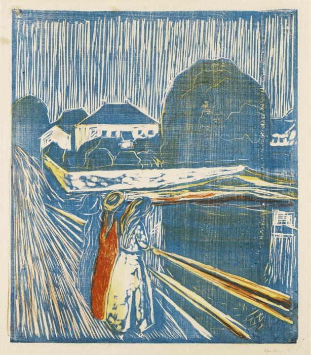 Edvard Munch-The Girls on the Bridge (Woll 628)-1918