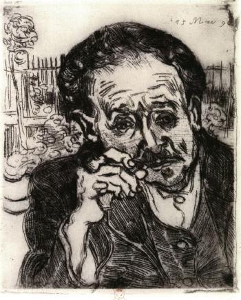 Vincent van Gogh-L'homme a la pipe: portrait du Docteur Gachet-1890