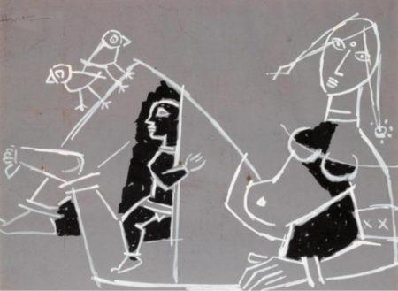 Maqbool Fida Husain-Untitled (Figural Abstract)-