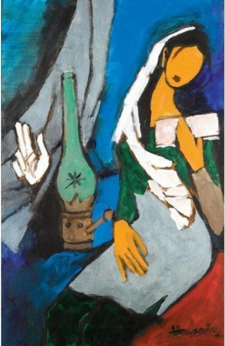 Maqbool Fida Husain-Untitled (Seated woman)-