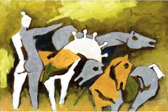 Maqbool Fida Husain-Horse and Nude-