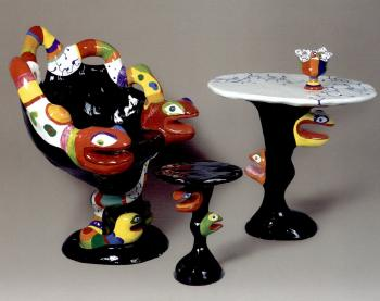 Niki de Saint Phalle-Grand fauteuil au serpent: (i) Table (ii) Stook (iii) Urn-1982