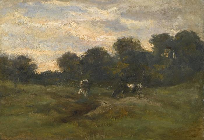 Vincent van Gogh-Prairie avec des vaches-1883