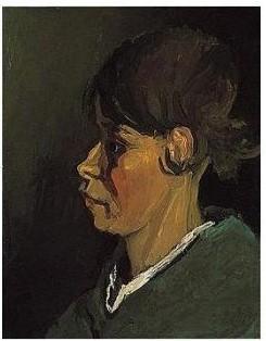 Vincent van Gogh-Tete de paysanne, profil gauche-1884