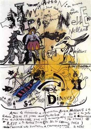Niki de Saint Phalle-Invitation a diner-1974