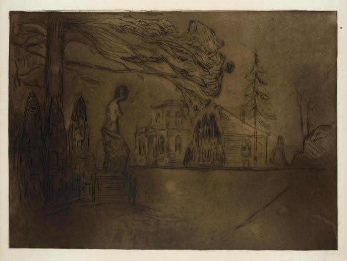 Edvard Munch-Linde Portfolio: the Garden at Night / Der Garten bei Nacht (Sch. 189; W. 221)-1902