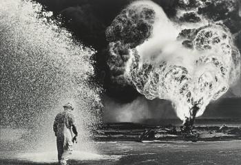 Sebastiao Salgado-Kuwait, Greater Burhan Oil Field (Worker Covered with Foam)-1991