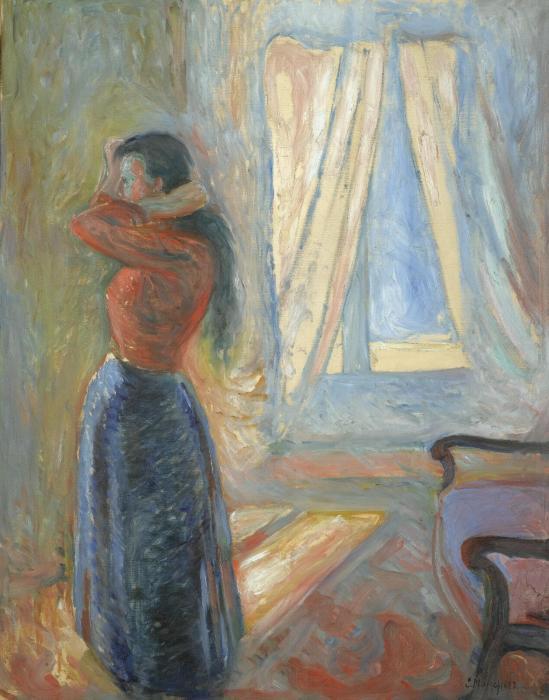 Edvard Munch-Kvinne som Speiler Seg (Woman Looking in the Mirror)-1892