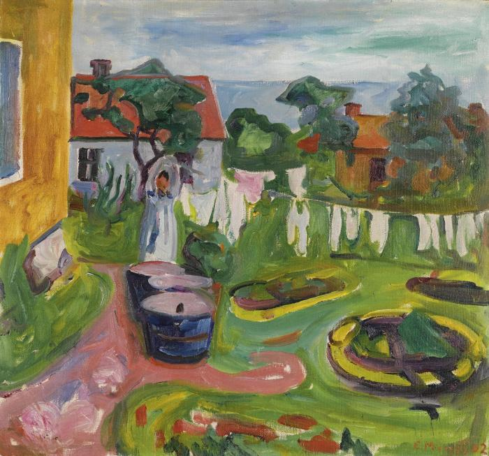 Edvard Munch-Klestork i Asgardstrand (Clothes on a Line in Asgardstrand)-1902