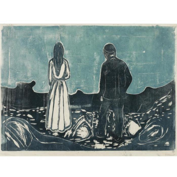 Edvard Munch-Two Human Beings, the Lonely Ones / Zwei Menschen, die Einsamen / Two people - The lonely ones-1899
