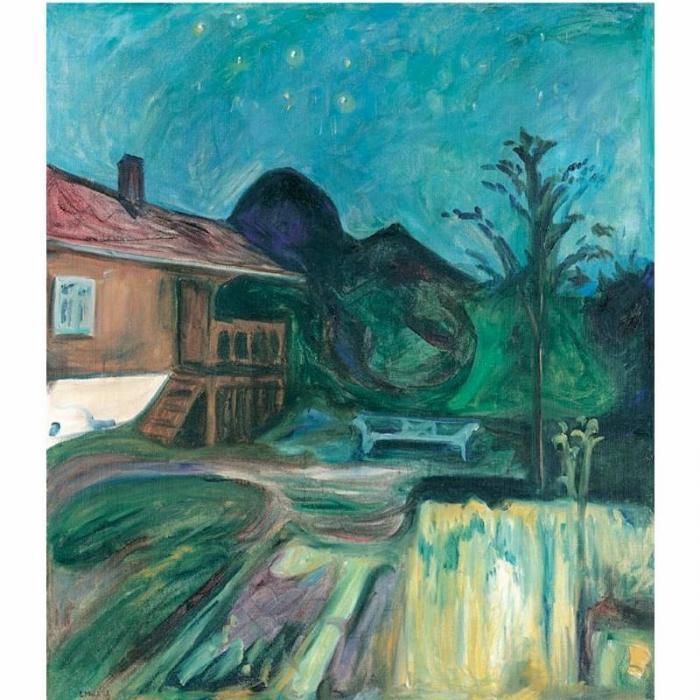Edvard Munch-Summernatt, Asgardtrand / Summer night in Asgard-Strand-1902