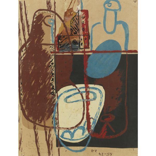 Le Corbusier-Nature morte aux bouteilles, verres et carafes-1950