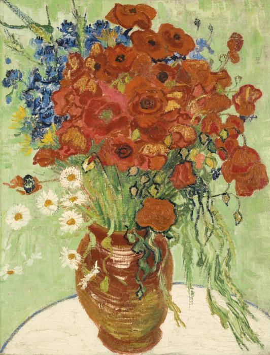Vincent van Gogh-Nature Morte, Vase Aux Marguerites Et Coquelicots (1890)-1890