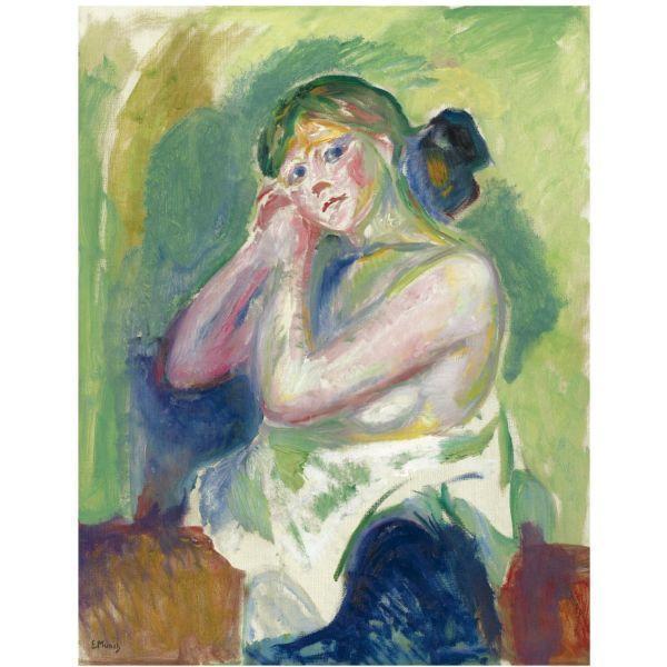 Edvard Munch-Halvakt (Nude Half Figure)-1917