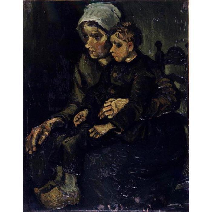 Vincent van Gogh-Mere et enfant-1885