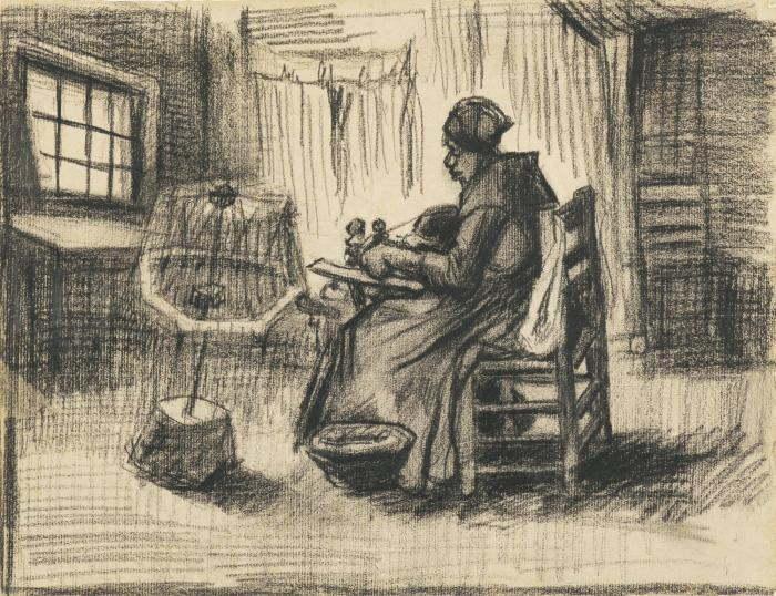 Vincent van Gogh-Peasant Woman Reeling Yarn-1885