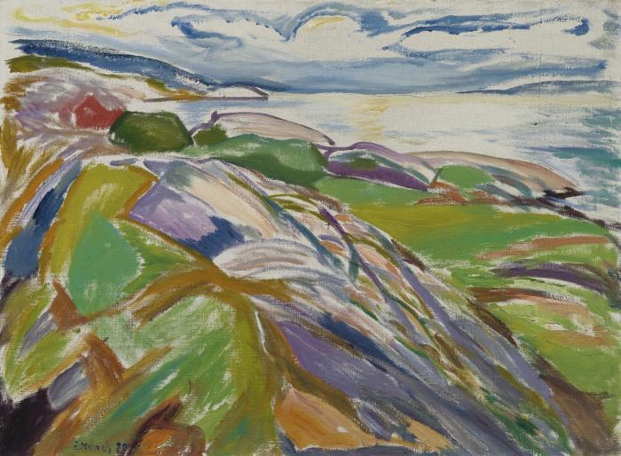 Edvard Munch-Kystlandskap Fra Hvitsten (Coastal Landscape at Hvitsten)-1922