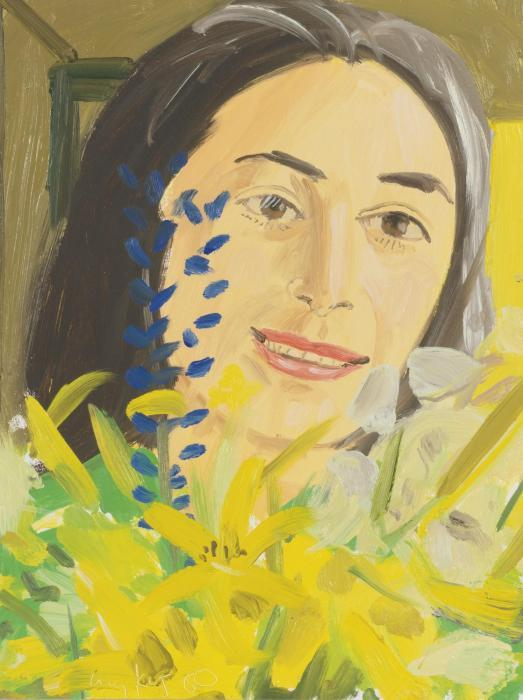 Alex Katz-Ada with Wildflowers I-1980