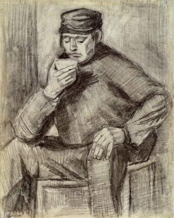 Vincent van Gogh-Homme buvant une tasse de cafe-1882