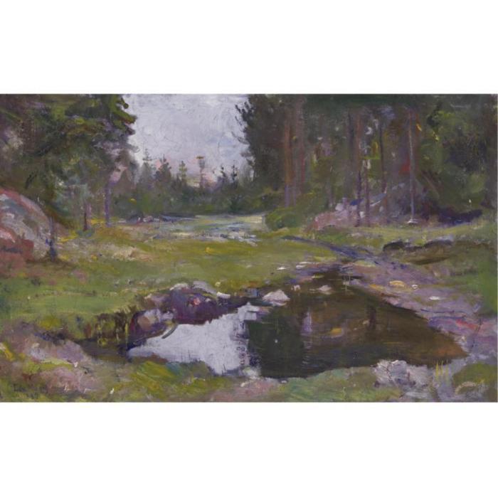 Edvard Munch-Skogs Landscape med Tjern / Woodland landscape with lake-1887