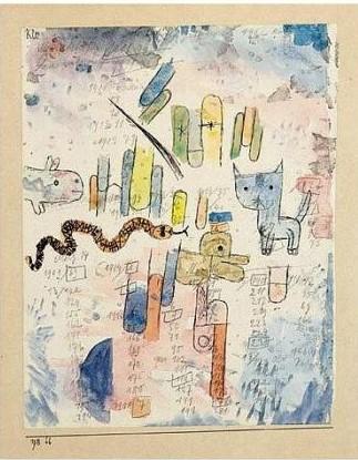 Paul Klee-Schlange Und Katze (Snake And Cat)-1918