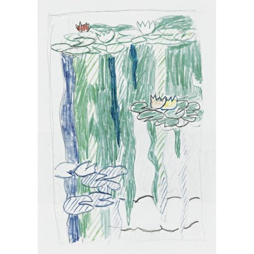 Roy Lichtenstein-Sketch for Water Lilies with Cloud-1992